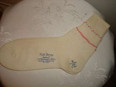Vintage Ruth Barry Durene White Mercerized Cotton New Top Of Ankle Socks Size 8