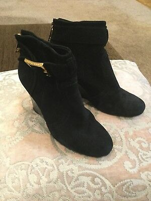 d350a406dd9 TORY BURCH BLACK Suede Logo Ankle Boots Milan Wedge Bootie Sz 6 ...