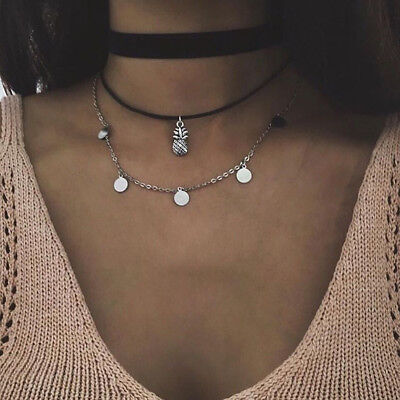Double Layer Silver Mermaid Whale Fish Tail Flower Chain Necklace Jewelry L