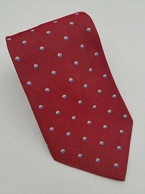 Brooks Brothers Makers Silk Tie Red With Blue/Beige Polka Dots Made in USA