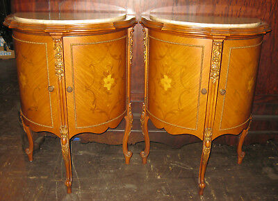 Pair French inlaid comodes with marble tops c.1920s