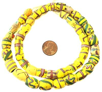 Old Antique Venetian Wound Fancy Yellow mixed glass African Trade beads
