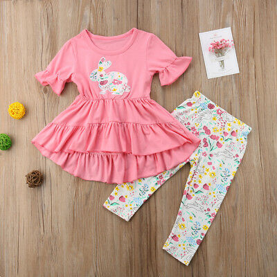 Easter Toddler Kids Baby Girl Ruffle Dress Tops Pants 2Pcs Outfits Clothes 1-6T