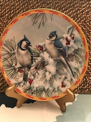 Lenox Fine Ivory China Collectors Plate Winter Song Natures Collage Birds