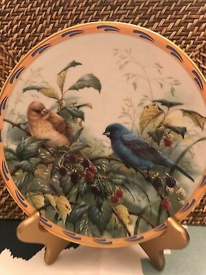 Lenox Fine Ivory China Collectors Plate Indigo Evening Natures Collage Birds