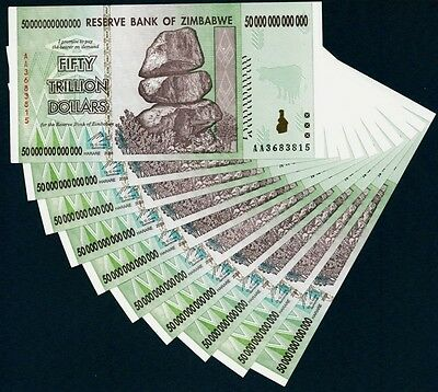 Zimbabwe 50 Trillion Dollars, 10 Pieces Banknote UNC AA+ Express Post (Zm50T10)
