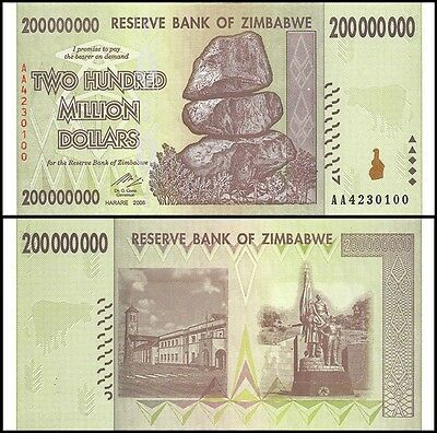 Zimbabwe 200 Million Dollars Banknote Uncirculated UNC New (Zm200M)