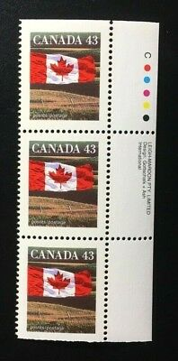Canada #1359ds +Tab LM CP MNH, Flag Over Field Booklet Strip of Stamps 1994