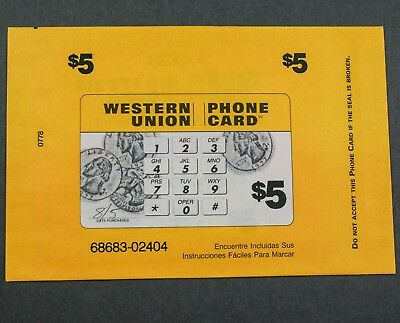 Western Union Keypad & Coins Paper Phone Card $5 Sealed