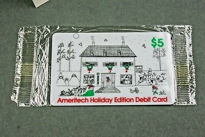 Ameritech Holiday Edition Debit Card Phone Card $5 Sealed W/Christmas Card