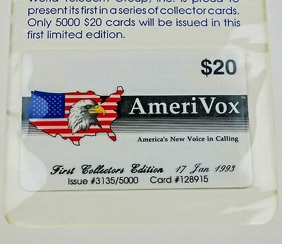 1993 AmeriVox $20 First Collector's Edition Telephone Phone Calling Card Sealed