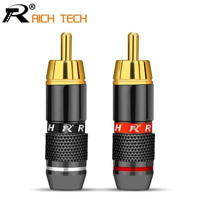 4pcs/2pairs Gold Plated RCA Connector RCA male plug adapter Video/Audio Wire