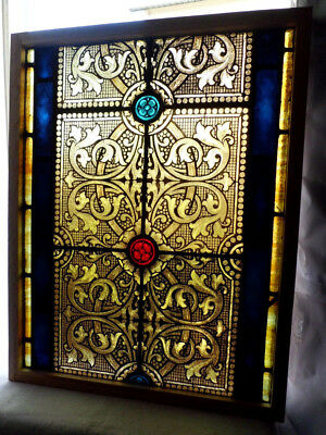 Antique Church Stained Glass Window Architectural Salvage Gothic Tracery 3967M