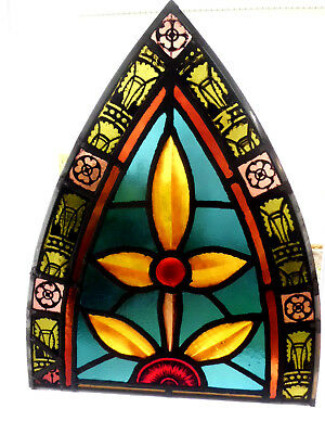 Antique Church Stained Glass Window Architectural Salvage Gothic Arch 3966E