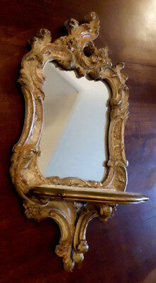 """Antique Vtg French Baroque Carved Wood Style Wall Mirror Shelf Bar Wood 20"""""""