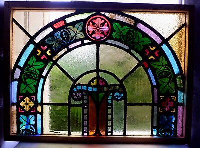 Antique Vtg Church Stained Glass Window Architectural Salvage Colorful Arch W13