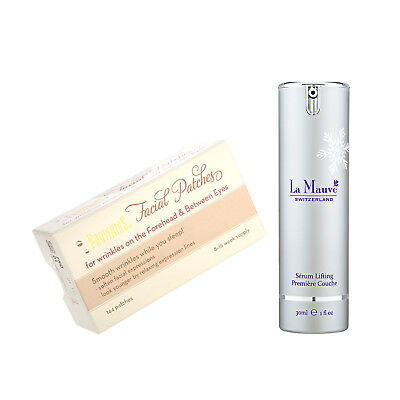 FROWNIES Facial Patches for Wrinkles Forehead & Between Eyes+La Mauve Serum 30ml