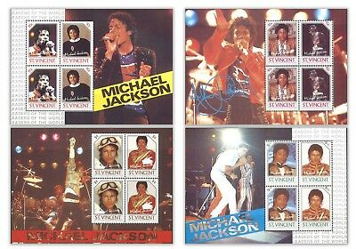 St. Vincent Micheal Jackson 4 Different Commemorative Stamp Miniature Sheets MUH