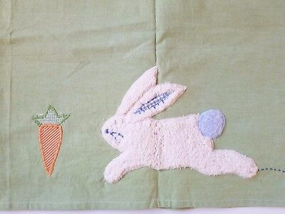 "Pottery Barn Carrot Patch Bunny Valance Pole Top 44"" X 18"" Green"