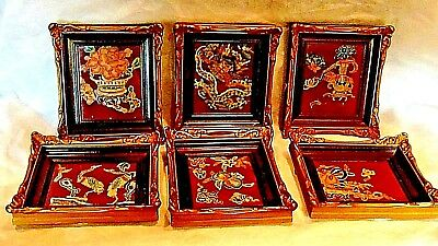 6 PIECES ANTIQUE 19c CHINESE FORBIDDEN STICH GOLD EMBROIDERY FRAMED FRAGMENTS