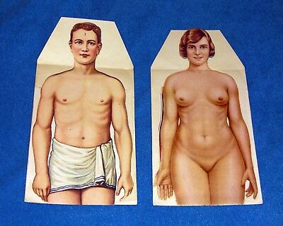 Antique Vintage Paper Models Fold-Out/Pop-Up Human Body Anatomy Male and Female