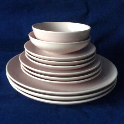 11 pc Russel Wright Iroquois Casual China pink sherbet dinner salad plates bowls
