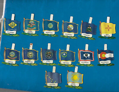 Vintage 1959 Nabisco Tin Litho State Flags Premium Lot of 14 w/Fold Back Tabs