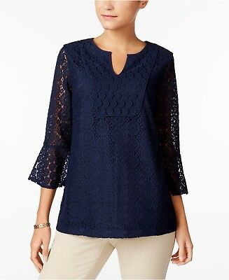 f5fa959193a Charter Club women's XL 3/4 Bell Sleeve blue lace embroidered tunic Top  blouse