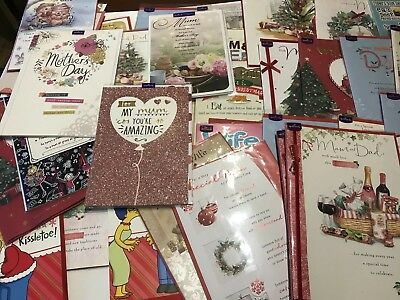 Job Lot Greeting  Cards 46 Hallmark With Envelopes In Cellophane Avg RRP £3 Each