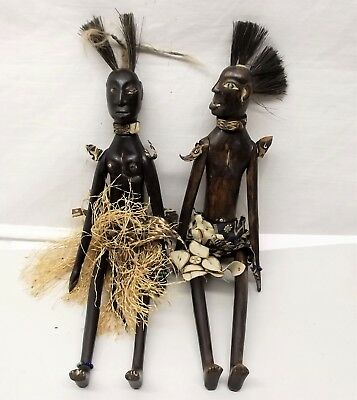 Vtg Timor Carved Wood Jointed Doll Puppet Pair Man Woman Glass Inlay Indonesia