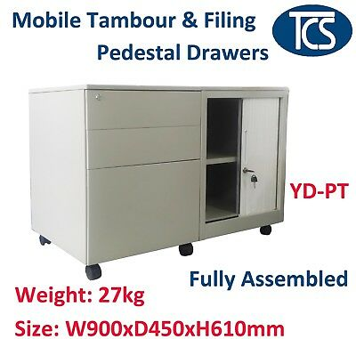 Tcs New Assembled Mobile Caddy Cabinet With A Tambour Door & 3 Drawers