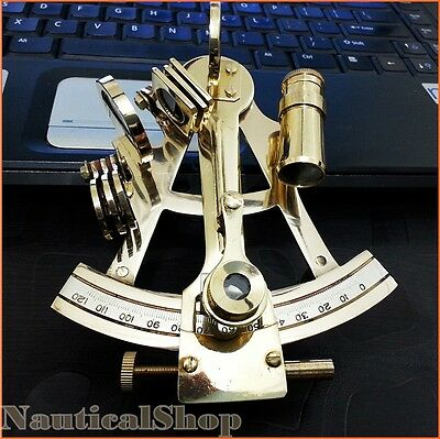 "4"" Solid Brass Sextant Nautical Marine Instrument Astrolabe Ships Maritime Gift"