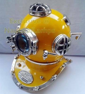 US navy mark V 18 Diving Divers helmet deep sea Scuba chrome yellow Antique