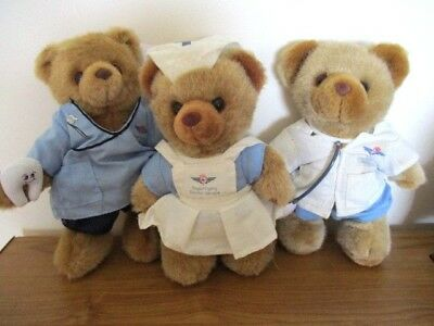 3 Vintage Royal Flying Doctor Service Australia Bears - Doctor,nurse,dentist