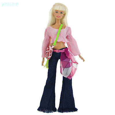 Handmade Bellbottoms Jeans Trousers Blouses Shirt Purse Clothes For 12 IN. Doll
