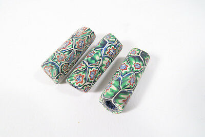3 alte Millefiori Glasperlen AC26 Old Venetian African trade beads Murrine