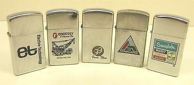 5 Vintage Zippo slim advertising lighters