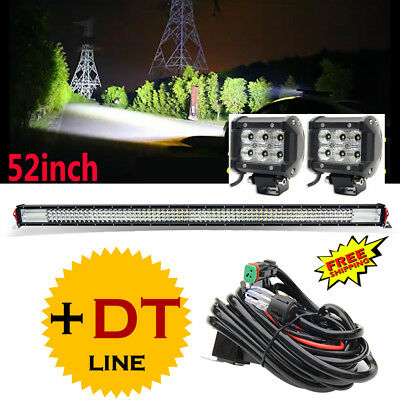 "52Inch LED Light Bar Combo +4"" CREE PODS FOR FFROAD SUV 4WD ATV FORD Jeep 50"