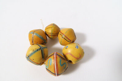 6 Antike Glasperlen Murano AE22 Antique King beads African trade beads Afrozip