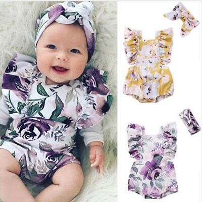 Newborn Baby Girls Ruffle One-Pieces Romper Bodysuit Jumpsuit Pretty Sunsuit