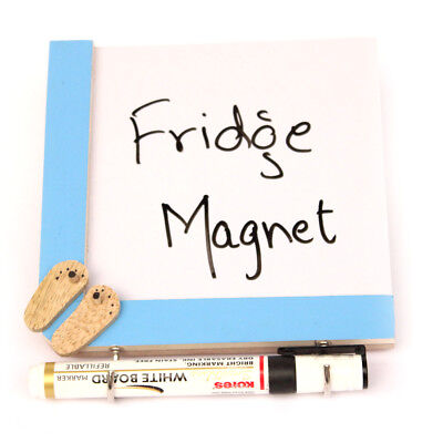 Handmade Crafted Wooden Fridge Magnets with a Whiteboard and Hooks - Slippers