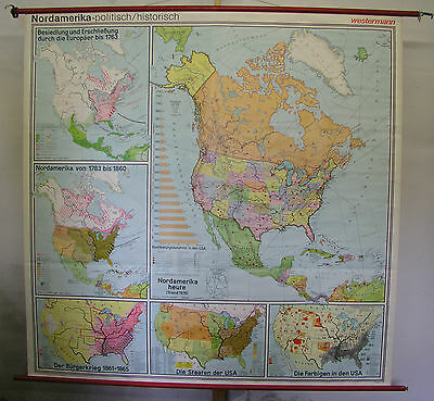 Schulwandkarte USA Map North America Discovery 1492-1978 201x197 History Map