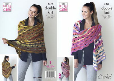 King Cole 5335 Ladies DK Crochet Pattern for Virus Shawl