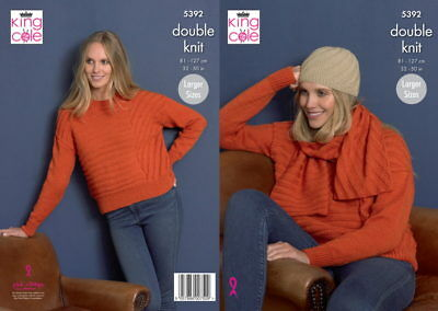 King Cole 5392 DK Knitting Pattern for Sweater Scarf & Hat