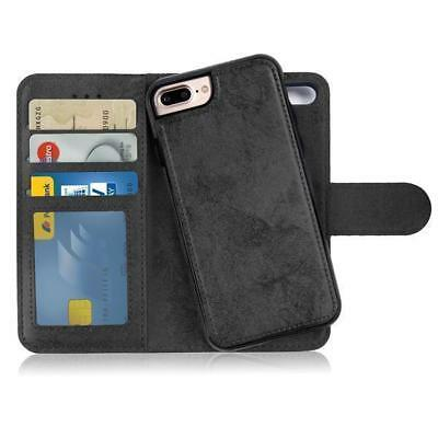 Custodia Flip Cover 2in1 iPhone 7 + 8 Plus Portafoglio Porta Carte Case Nero