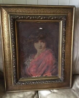 Large Antique Oil Painting of Young Lady Late 19th Century Original Frame
