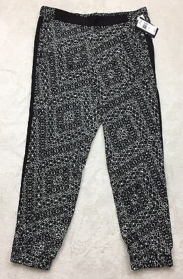 9680420afde88 NWT Not Your Daughter s Jeans track pants L black white elastic waist  2D