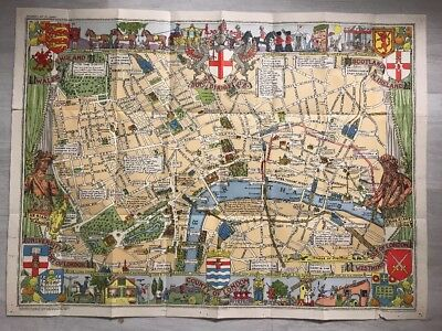 John Bartholomew 1950 Children's Map Of London Illustrated Carte Londres RARE