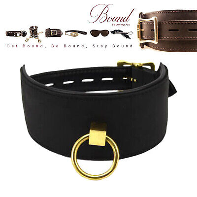 Bound Noir Premium Nubuck Leather Collar with O Ring Adult Fun - Discreet P&P