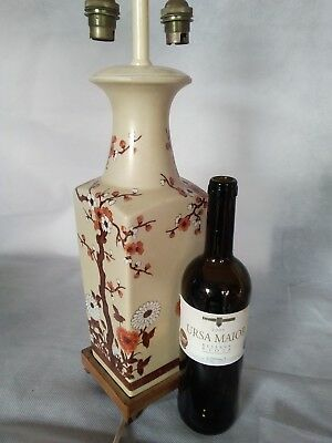Stunning large Vintages is not  Chinese  hand painted twin bulb table lamp